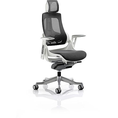 Zure Executive Office Chair Charcoal Mesh With Arms &Headrest