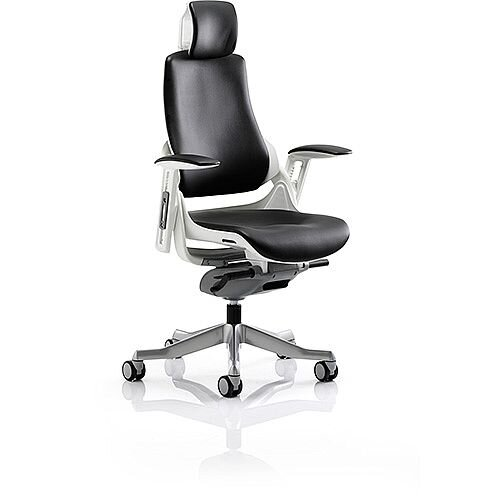 Zure Executive Office Chair Black Leather With Arms &Headrest