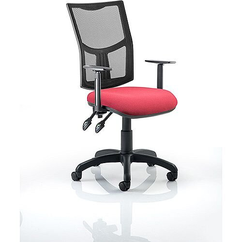 Eclipse II Lever Task Operator Office Chair Mesh Back With Wine Seat &Height Adjustable Arms