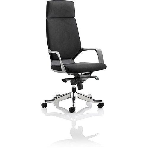 Xenon Black Frame High Back Executive Office Chair Black Fabric With Headrest