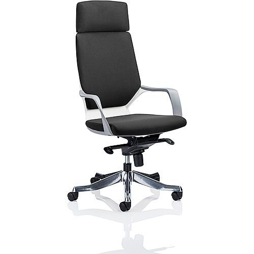 Xenon White Frame High Back Executive Office Chair Black Fabric With Headrest