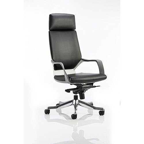 Xenon White Frame High Back Executive Office Chair Black Leather With Headrest