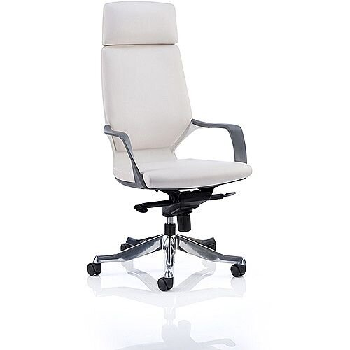 Xenon White Frame High Back Executive Office Chair White Leather With Headrest