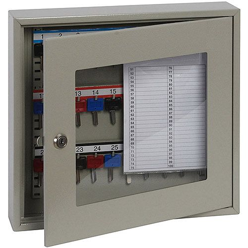 Phoenix Keysure KC0401K 30 Hook Clear View Key Cabinet with Key Lock Light Grey