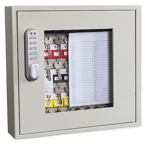 Phoenix Keysure KC0401E 40 Hook Clear View Key Cabinet with Electornic Code Lock Light Grey