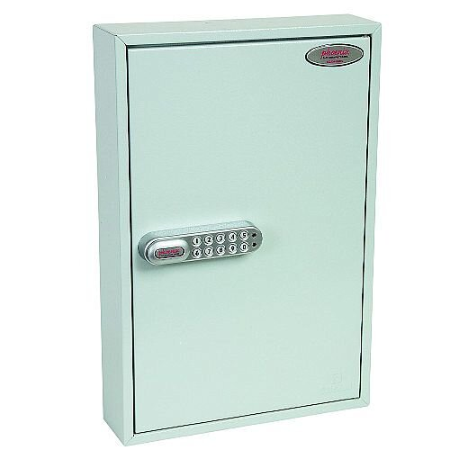 Phoenix Commercial Key Cabinet KC0601S 42 Hook with Electronic Lock &Push Shut Latch. Light Grey
