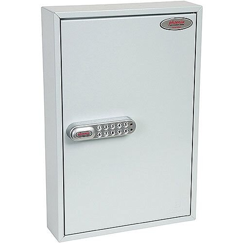 Phoenix Commercial Key Cabinet KC0602S 64 Hook with Electronic Lock &Push Shut Latch. Light Grey