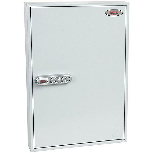 Phoenix Commercial Key Cabinet KC0603S 100 Hook with Electronic Lock &Push Shut Latch. Light Grey