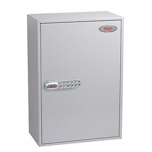Phoenix Commercial Key Cabinet KC0604S 200 Hook with Electronic Lock &Push Shut Latch. Light Grey