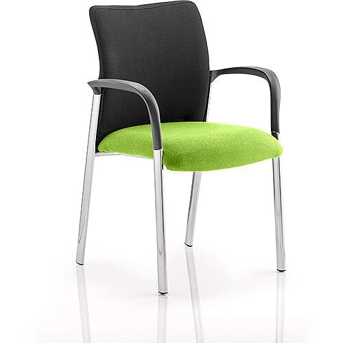 Academy Boardroom &Visitor Chair With Arms Black Fabric Back Swizzle Green Seat