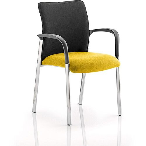 Academy Boardroom &Visitor Chair With Arms Black Fabric Back Sunset Yellow Seat