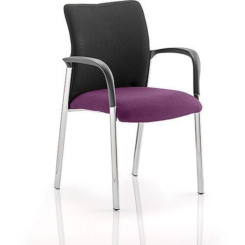 Academy Boardroom &Visitor Chair With Arms Black Fabric Back Purple Seat