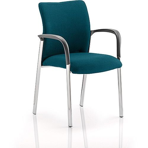 Academy Boardroom &Visitor Chair With Arms Fabric Back &Seat Kingfisher Green