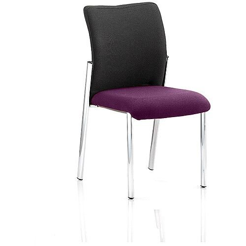 Academy Boardroom &Visitor Chair Black Fabric Back Purple Seat