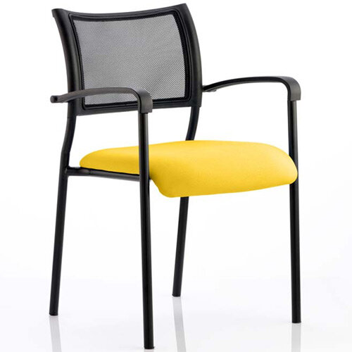 Brunswick Boardroom &Visitor Armchair with Black Frame &Sunset Yellow Seat
