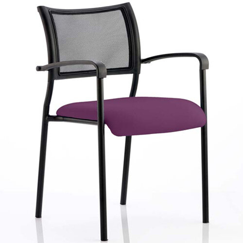 Brunswick Boardroom &Visitor Armchair with Black Frame &Purple Seat