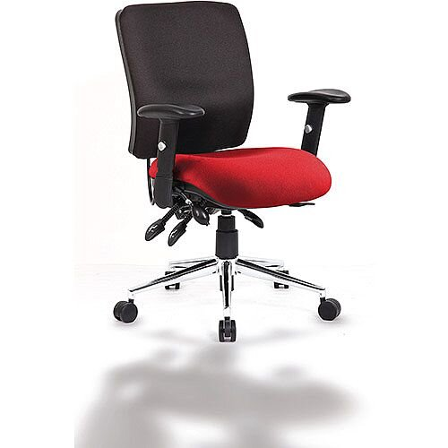 Chiro Medium Back Task Operator Office Chair Black Back &Cherry Red Seat