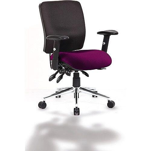 Chiro Medium Back Task Operator Office Chair Black Back &Purple Seat