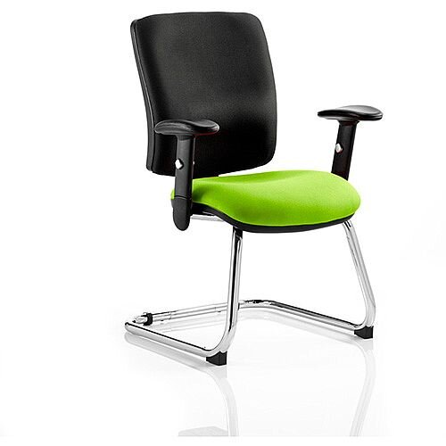 Chiro Medium Back Cantilever Chair Black Back &Swizzle Green Seat