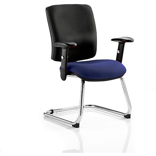 Chiro Medium Back Cantilever Chair Black Back &Serene Blue Seat
