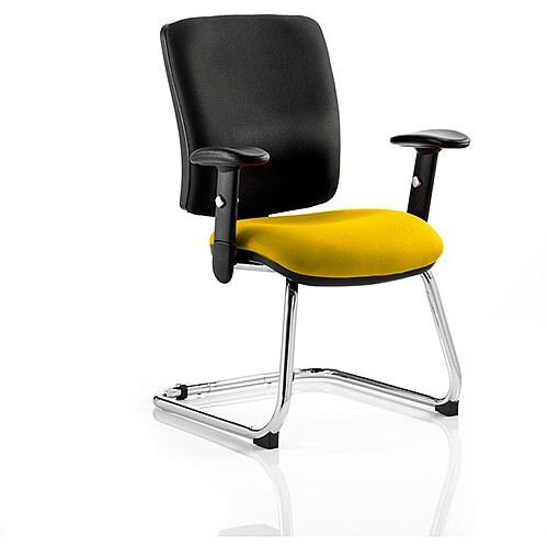 Chiro Medium Back Cantilever Chair Black Back &Sunset Yellow Seat