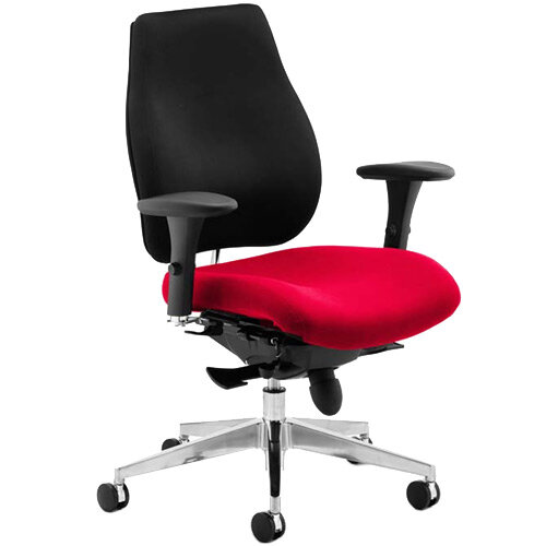 Chiro Plus High Back Ergonomic Posture Office Chair Black Back &Cherry Red Seat