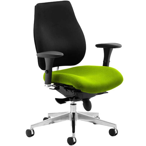 Chiro Plus High Back Ergonomic Posture Office Chair Black Back &Swizzle Green Seat