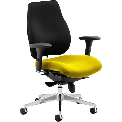 Chiro Plus High Back Posture Chair Black Back &Sunset Yellow Seat