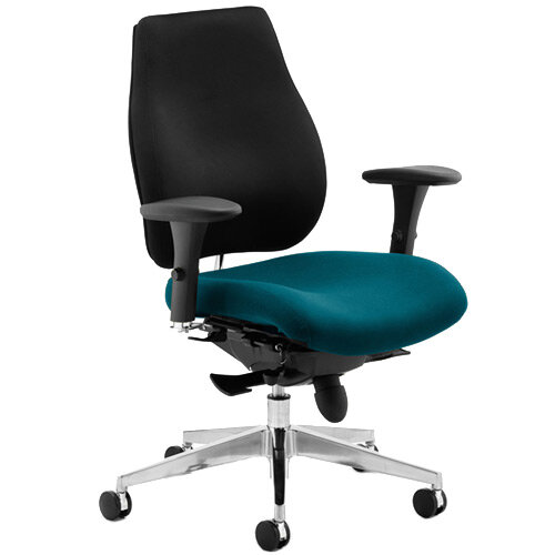 Chiro Plus High Back Ergonomic Posture Office Chair Black Back &Kingfisher Green Seat