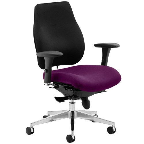 Chiro Plus High Back Ergonomic Posture Office Chair Black Back &Purple Seat
