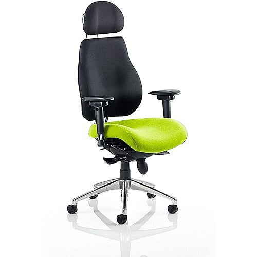 Chiro Plus Ultimate High Back Ergonomic Posture Office Chair With Headrest Black Back &Swizzle Green Seat