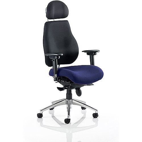 Chiro Plus Ultimate High Back Ergonomic Posture Office Chair With Headrest Black Back &Serene Blue Seat
