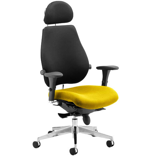 Chiro Plus Ultimate High Back Ergonomic Posture Office Chair With Headrest Black Back &Sunset Yellow Seat