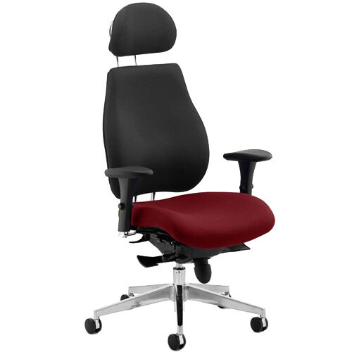 Chiro Plus Ultimate High Back Ergonomic Posture Office Chair With Headrest Black Back &Chilli Red Seat