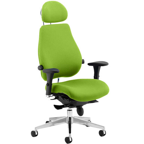 Chiro Plus Ultimate High Back Ergonomic Posture Office Chair With Headrest Swizzle Green