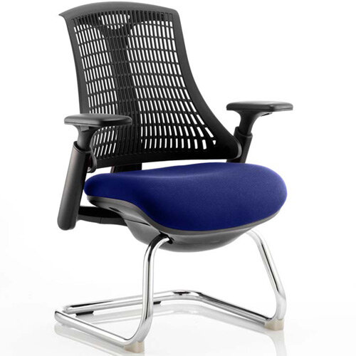 Flex Boardroom &Visitor Chair Black Cantilever Frame Black Back Serene Blue Seat
