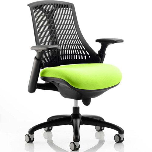 Flex Task Operator Office Chair Black Frame Black Back Swizzle Green Seat