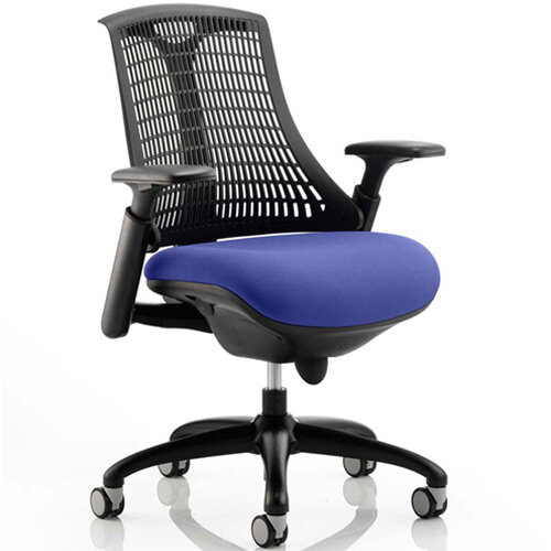 Flex Task Operator Office Chair Black Frame Black Back Serene Blue Seat