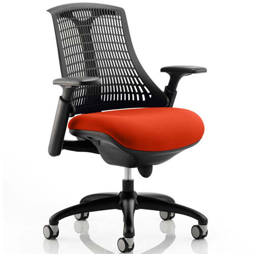 Flex Task Operator Office Chair Black Frame Black Back Pimento Rustic Orange Seat