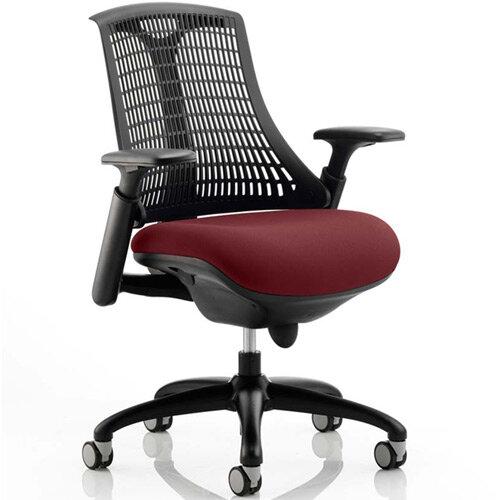 Flex Task Operator Office Chair Black Frame Black Back Chilli Red Seat