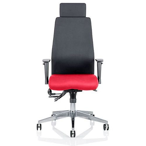 Onyx High Back Ergonomic Posture Office Chair With Headrest Black Back &Cherry Red Seat
