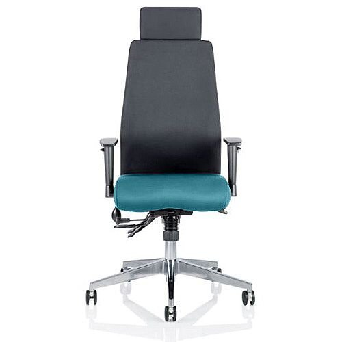 Onyx High Back Ergonomic Posture Office Chair With Headrest Black Back &Kingfisher Green Seat