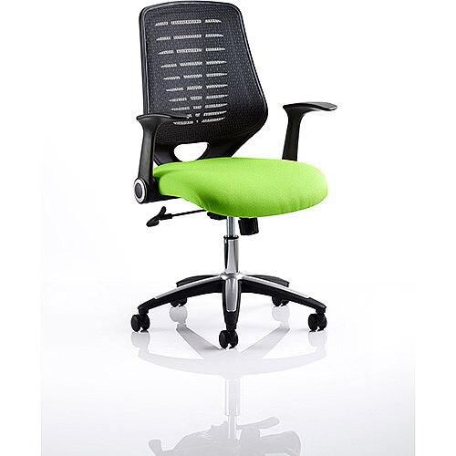 Relay Task Operator Office Chair Black Back Swizzle Green