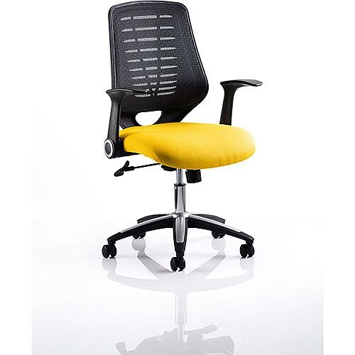 Relay Task Operator Office Chair Black Back Sunset Yellow