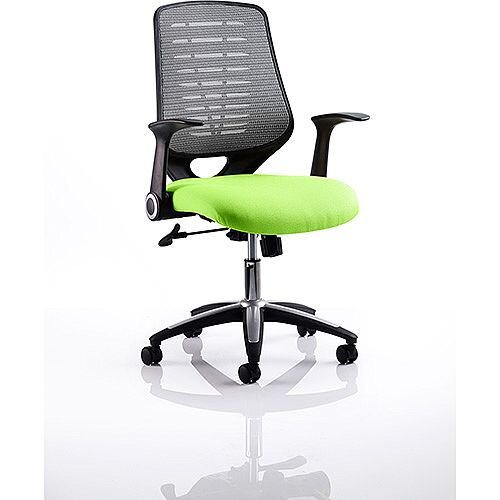 Relay Task Operator Office Chair Silver Back Swizzle Green