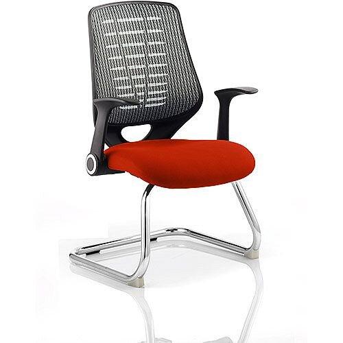 Relay Boardroom &Visitor Chair Cantilever Silver Back Pimento Rustic Orange