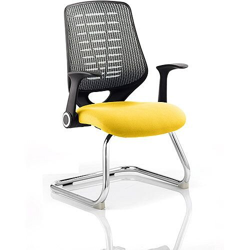 Relay Boardroom &Visitor Chair Cantilever Silver Back Sunset Yellow