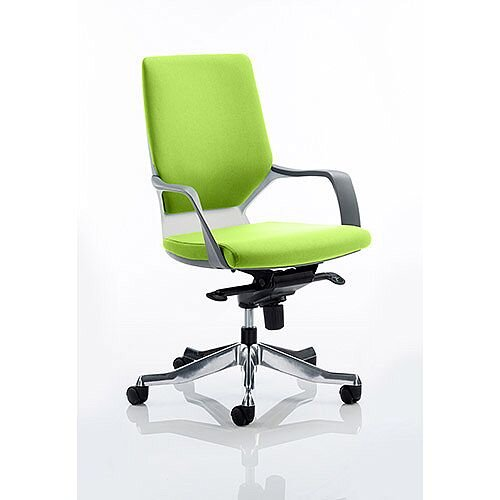 Xenon Executive Office Chair White Frame Medium Back Swizzle Green Seat