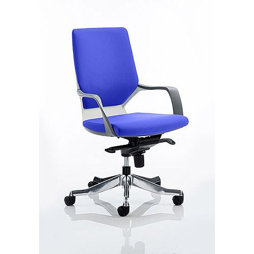 Xenon Executive Office Chair White Frame Medium Back Serene Blue Seat