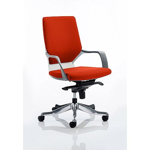 Xenon Executive Office Chair White Frame Medium Back Pimento Rustic Orange Seat
